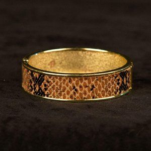 Vintage Hinged Leather Snake Skin Print Bangle